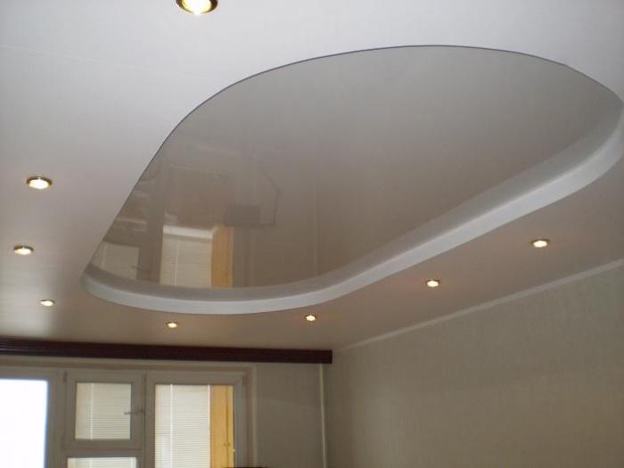 натяжные двухуровневые матовые потолки фото